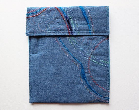 Fireworks iPad Case with Stylus Pocket - Upcycled Denim iPad Cover Sleeve for iPad or iPad Air and Stylus
