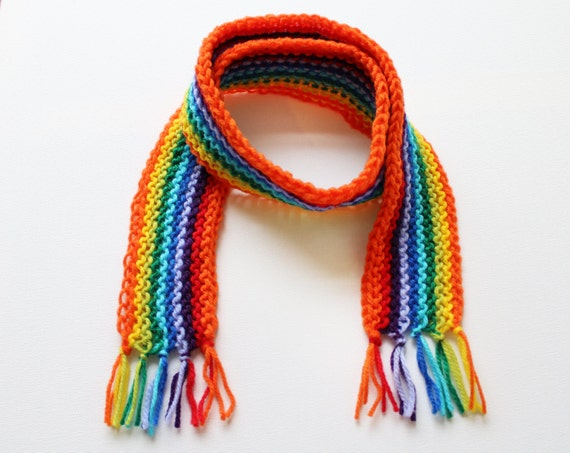 Orange Rainbow Pixie Scarf - Child's Colourful Rainbow Scarf - Knitted Classic Rainbow Scarves for Kids - Christmas Gift Ideas for Children