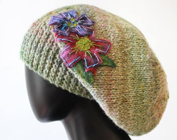 Pistachio Slouch Hat - Green Slouchy Hat with Flower - Natural coloured hat green hat - Elegant Slouch Tam Hat in Nutty Green - light green