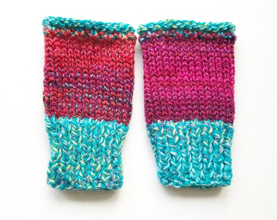 Tropical Buskers' Mittens - Mens Fingerless Gloves For Winter and Spring - Funky Pink Turquoise Blue Unisex Handwarmer Gloves Gifts for Him