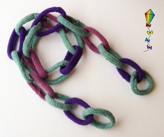 Chain Scarf for Kids - Damson - Purple Child's Scarf in Quirky Chain Link Scarf Design