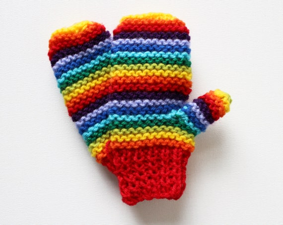 Red Rainbow Pixie Mittens - Warm and Durable Children's Rainbow Mittens - Gift ideas for Kids - Rainbow Mittens for Children