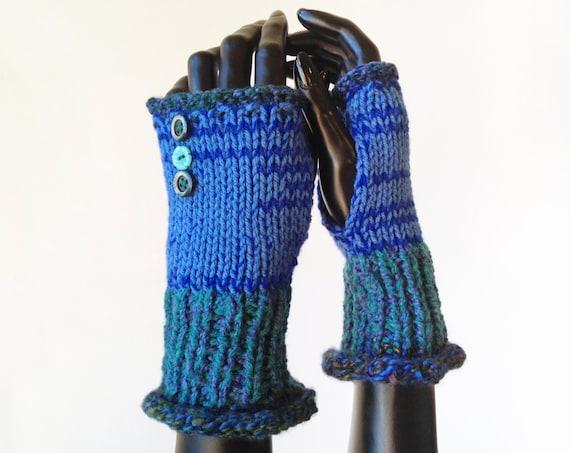 Forest Night Frilly Fingers - Fingerless Gloves Dark Blue Fingerless Hand Warmers