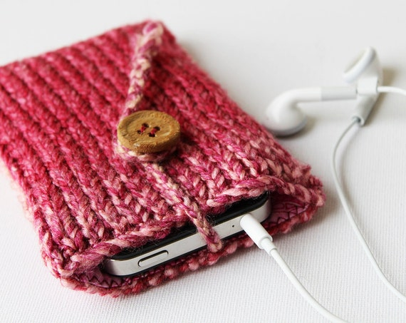 Bonbon Pink Phone Sleeve or iPod Touch Pocket Case - fits iPod Touch, iPhone 4S, iPhone 5 and similar phones