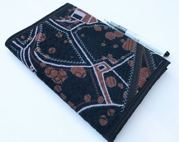 Cocoa Bean A5 Journal Sketchbook - Black and Brown Abstract Embroidered Notebook Diary - Chocolate Design Embroidered A5 Sketchbook Journal