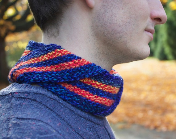 Blaze Men's Nuzzler - Funky Blue and Orange Unisex Cowl for Man or Woman - Cowl Scarves