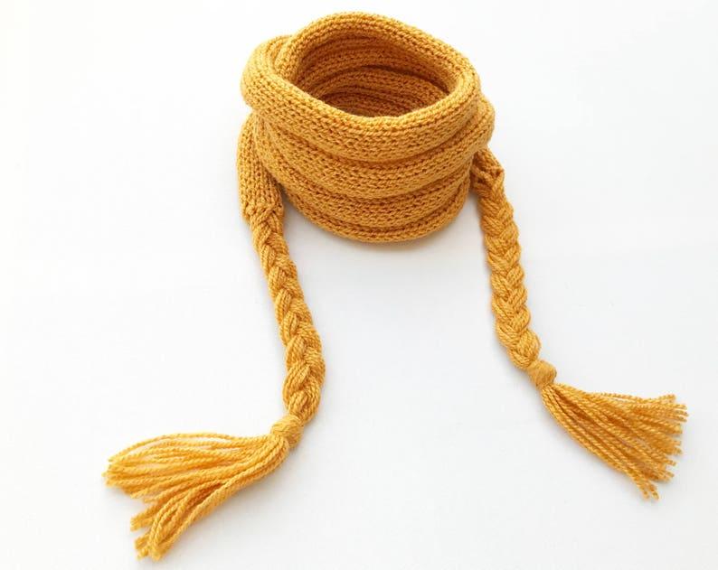 Mustard Yellow Spaghetti Scarf  Sunny Yellow Mustard Scarf image 0