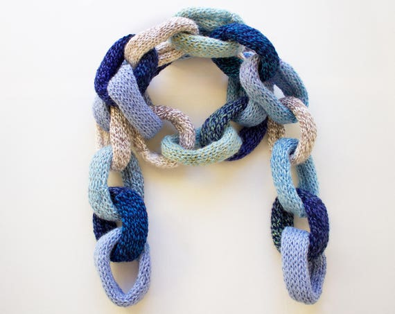 Clouds Blue Chain Scarf - Blue Chain Link Scarf - Quirky Blue Winter Scarf in Sky Blues • Unique Winter Fashion - Light Blue Chain Scarves