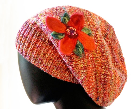 Poinsettia Flower Slouch Hat - Warm & Cozy Knitted Woolly Hat with felt Flower - Light orange red Christmas Hat - felted poinsettia flower