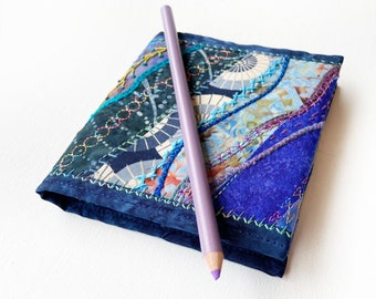 Deep Blue Pocket Sketchbook - Small Journal reusable cover - dark blue embroidered notebook travel diary compact mini jotter small sketchpad