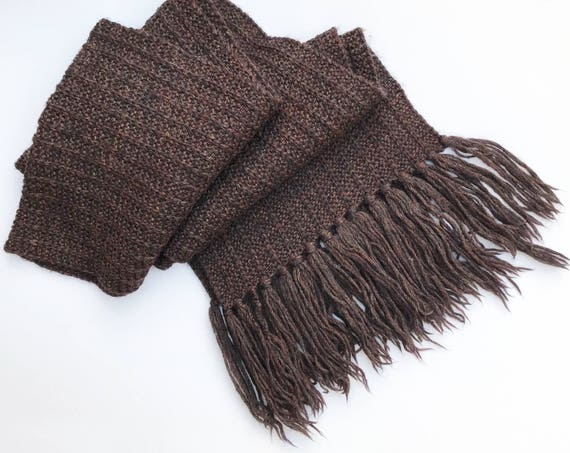 Espresso Shawl - Unisex, warm brown knitted shawl scarf. Large scarf, cosy to snuggle in - Warm woollen shawl dark brown scarves for winter