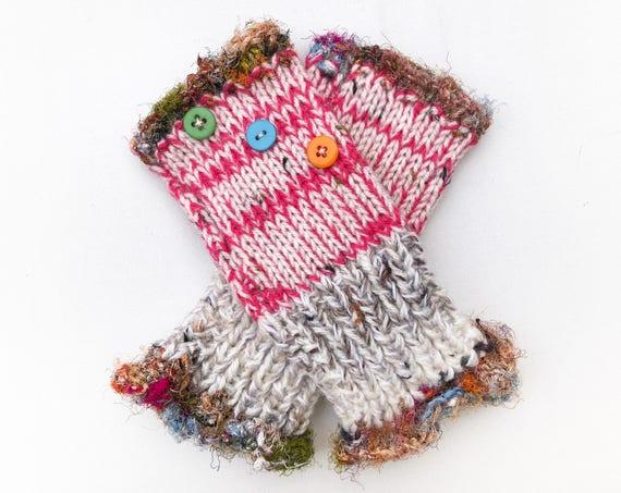 Fingerless Mittens • Sorbet Frilly Fingers - Bright Pink and cream Fingerless Mitten Frilled Edging • Pink Gloves - Fingerless Hand-warmer