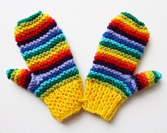 Yellow Rainbow Pixie Mittens - Cheerful and Warm Childs Mittens - Rainbow Gloves for Child - Bright and Colourful Rainbow Mitten Gloves