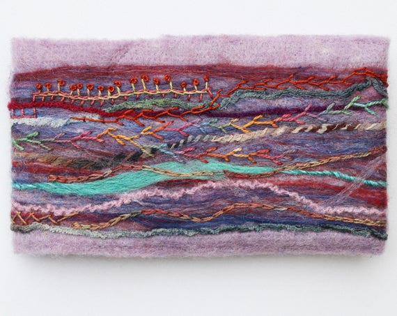 Moorland Felted Sketchbook Journal - Light Purple Felted Journal with Embroidery - Unique Art Book Purple Sketchbook - Textile Lilac Journal
