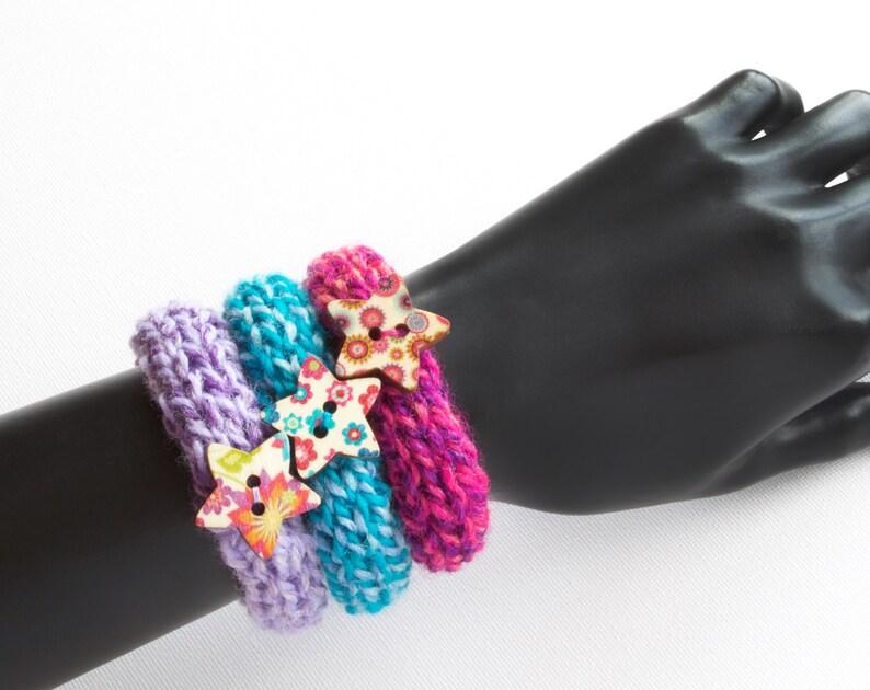 Stacking Bangles Macaroon Set of Three Button Bangles  Knit image 0