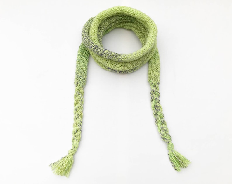 Sherbet Green Spaghetti Scarf  Light Green Thin Scarf image 0