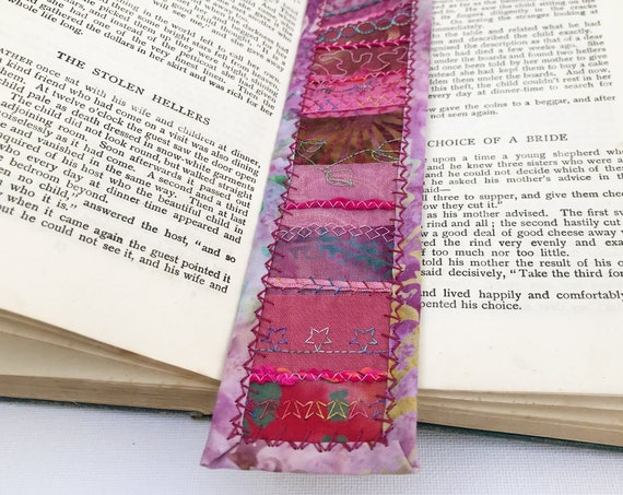 Rose Pink Bookmark - Pink Embroidered Bookmark Fabric Pagemarker - Pink Stitched Bookmark Secret Santa Gift Stocking Filler Easy to post