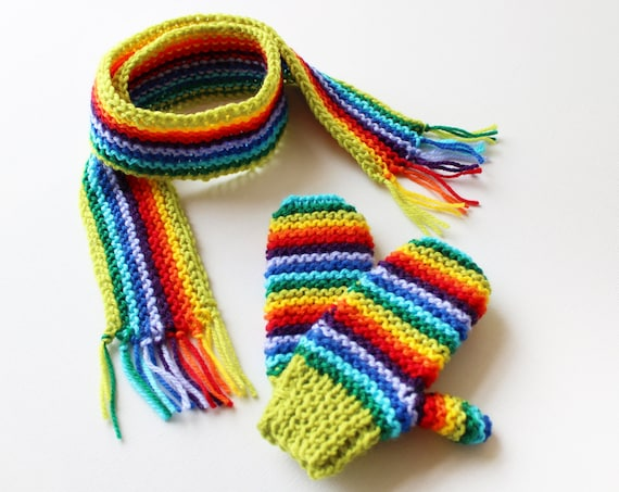 Lime Rainbow Pixie Set of Scarf and Matching Gloves - Gender Neutral Rainbow Children's Mitts and Scarf Winter Outfit - Gender-Neutral Gifts