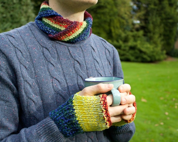 Macaw Nuzzler and Mitts Set - Unisex Rainbow Circle Scarf with Matching Fingerless Mittens - Gift for a Man