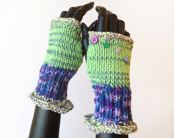 Fingerless Gloves - Grape Frilly Fingers - Bright Green Fingerless Mittens - Colourful Wristwarmer Gloves
