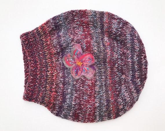 Winter Berry Slouch Hat - Dark Red & Purple Knitted Hat - Slouchy Hat beret - Purple and Red slouch hat - Ladies winter hat flower detail