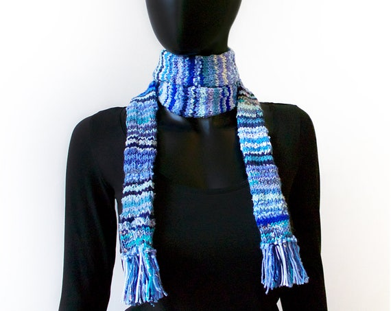 Vapour Trails Eco Scarf - Blue Scarf made from Upcycled Scraps of Yarn - Upcycled Scarf in sky blue - blue thin scarf - blue skinny scarf