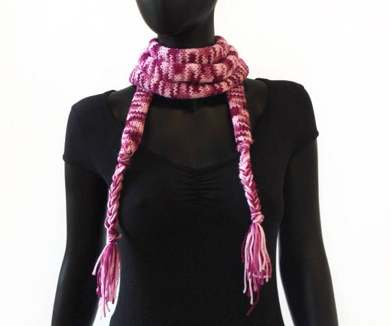 Raspberry Spaghetti Scarf - Thin Pink Scarf - Little Scarf for all weather - Thin Pink Skinny Scarf - Spring Scarves - Cute Stocking Fillers