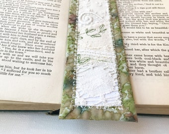 Elven Lace Bookmark - Ivory Lace Embroidered Bookmark Handmade Pagemark - Stitched Fabric Bookmark Little Gift for Someone Who Loves Reading
