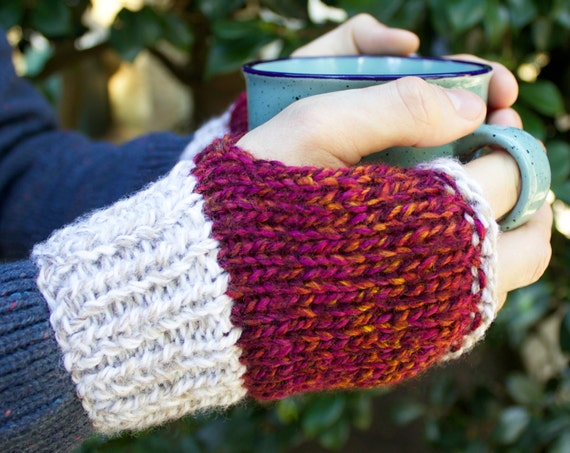 Christmas Buskers' Mittens - Mens Fingerless Gloves For Fall, Winter, or Spring - Red & White Unisex Handwarmer Gloves- Gender Neutral Gifts