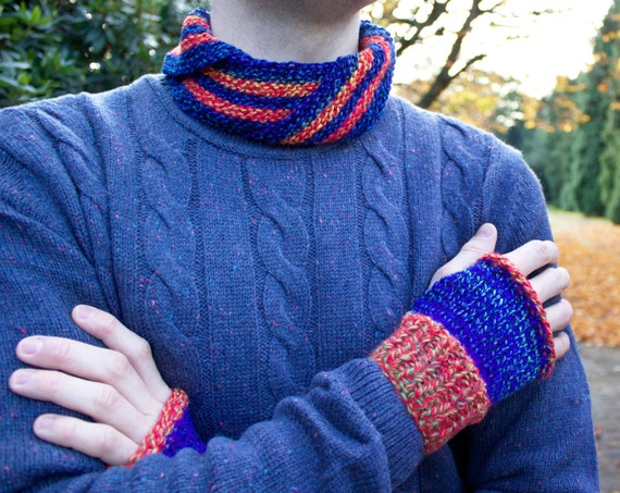 Blaze Nuzzler and Mitts Set - Gifts for Men - Orange and Blue Unisex Cowl with Matching Fingerless Gloves