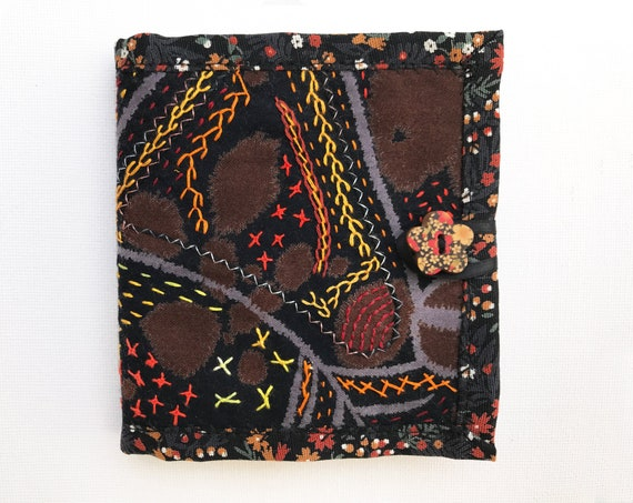Black Needle Book - Gift for crafter Black embroidered needle case with hand stitched textile design sewing. Needle organisers, needle work