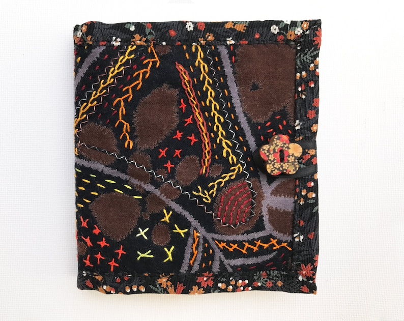 Black Needle Book  Gift for crafter Black embroidered needle image 0