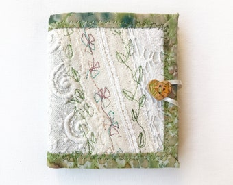 Elven Lace Needle Book - Needle case crafters gift for someone who likes sewing - Ivory Green Needle Book Needlework Case in embroidery lace