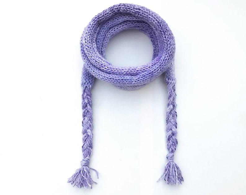 Lilac Spaghetti Scarf  Light Purple Thin Scarf  Mauve skinny image 0