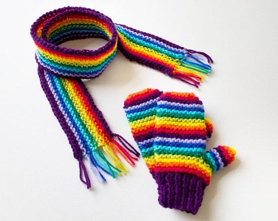 Purple Rainbow Pixie Set of Mittens with Matching Scarf - Gender Neutral Rainbow Children's Gloves and Unisex Kid's Rainbow Scarf to Match