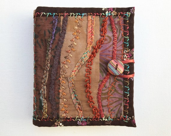 Nutmeg Brown Needle Book - Brown needlework case with intricate stitching - Sew stitch organiser, needle case for sewing kit. Sewing gifts