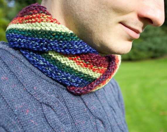 Macaw Men's Nuzzler - Unisex Rainbow Cowl for Man or Woman - Colourful Cowl Scarves
