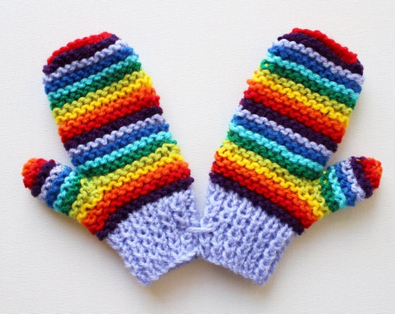 Mauve Rainbow Pixie Mittens - Colourful Kids' Mittens - Rainbow Mittens for Children