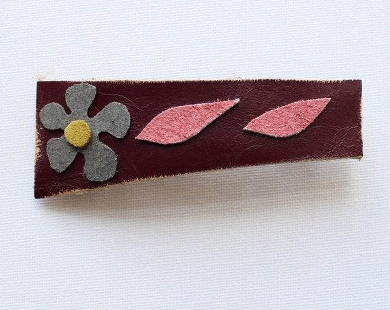 Forget Me Not Medium Chunky Hair Clip - Floral Hair Accessory Handmade Hair Clip Reclaimed Leather Scraps