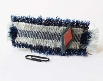 Lonely Kite Medium Chunky Hair Clip - Recycled Denim and Leather Hair Accessory Barrette Clip Mother's Day