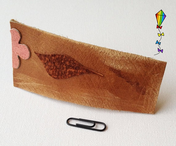 Large Hair Clip made from Reclaimed Leather - Woodland Flower Design