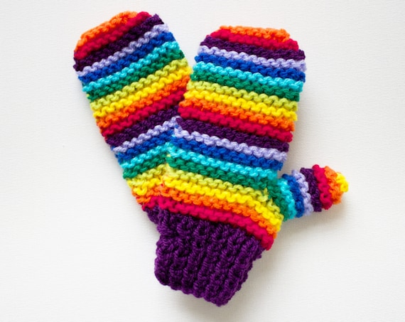 Purple Rainbow Pixie Mittens - Colourful Kid's Mittens - Rainbow Children's Mitts
