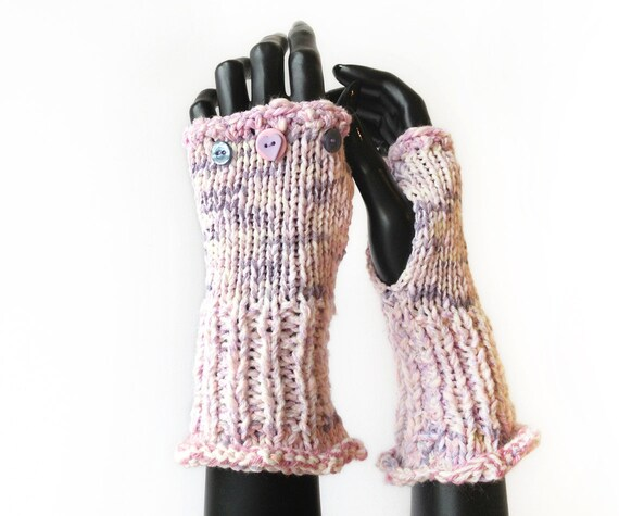 Fingerless Mittens • Winter Rose Frilly Fingers - Fingerless Hand Warmers, Pretty Vintage Pink Fingerless Gloves - Winter Rose Pink Gloves