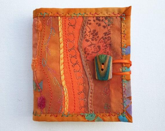 Orange Needle Book • Handmade needlework case Embroidered Orange Needlebooks Sewing kit organiser needlecase orange pin and needle book case