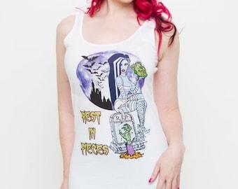 Bride of Frankenstein, 'Rest in Pieces' White Ladies Vest Top S M L XL