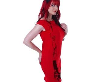 Smoking Gun Print Red Mini Dress Tunic size Small