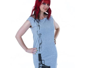 Smoking Gun Print Grey Mini Dress Tunic S or M
