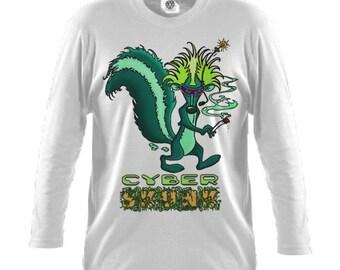 Cyber Skunk Mens White Long Sleeved Tshirt M L XXL
