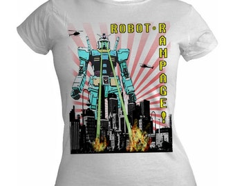 Robot Rampage on Various Colours of Ladies Tshirt S M L XL
