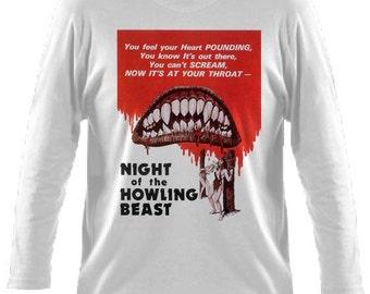 Night of the Howling Beast Horror Movie Mens White Long Sleeved Tshirt S M L XL XXL